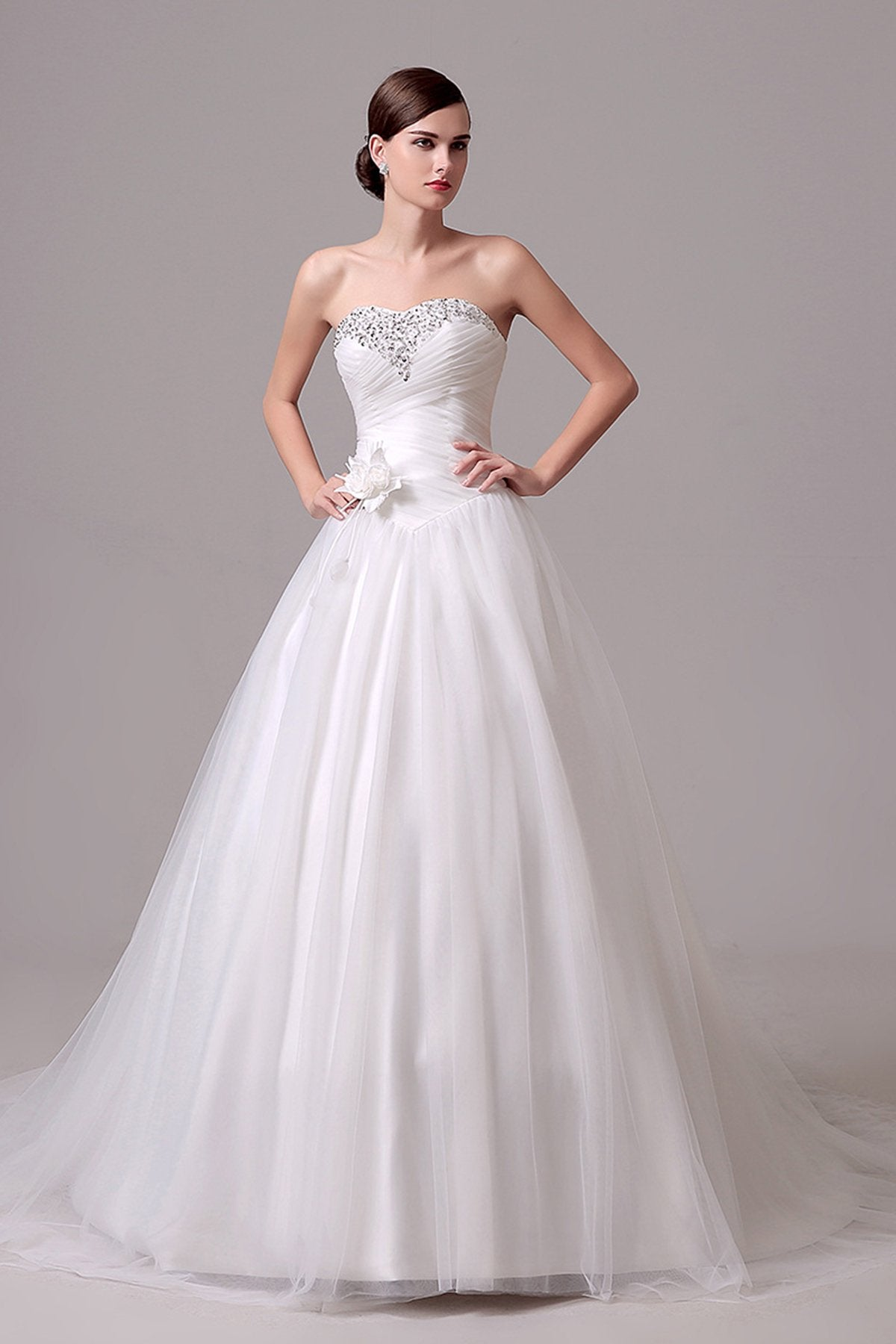 Ruched Beaded Strapless Wedding Dress Wedding Dress US2 Ivory