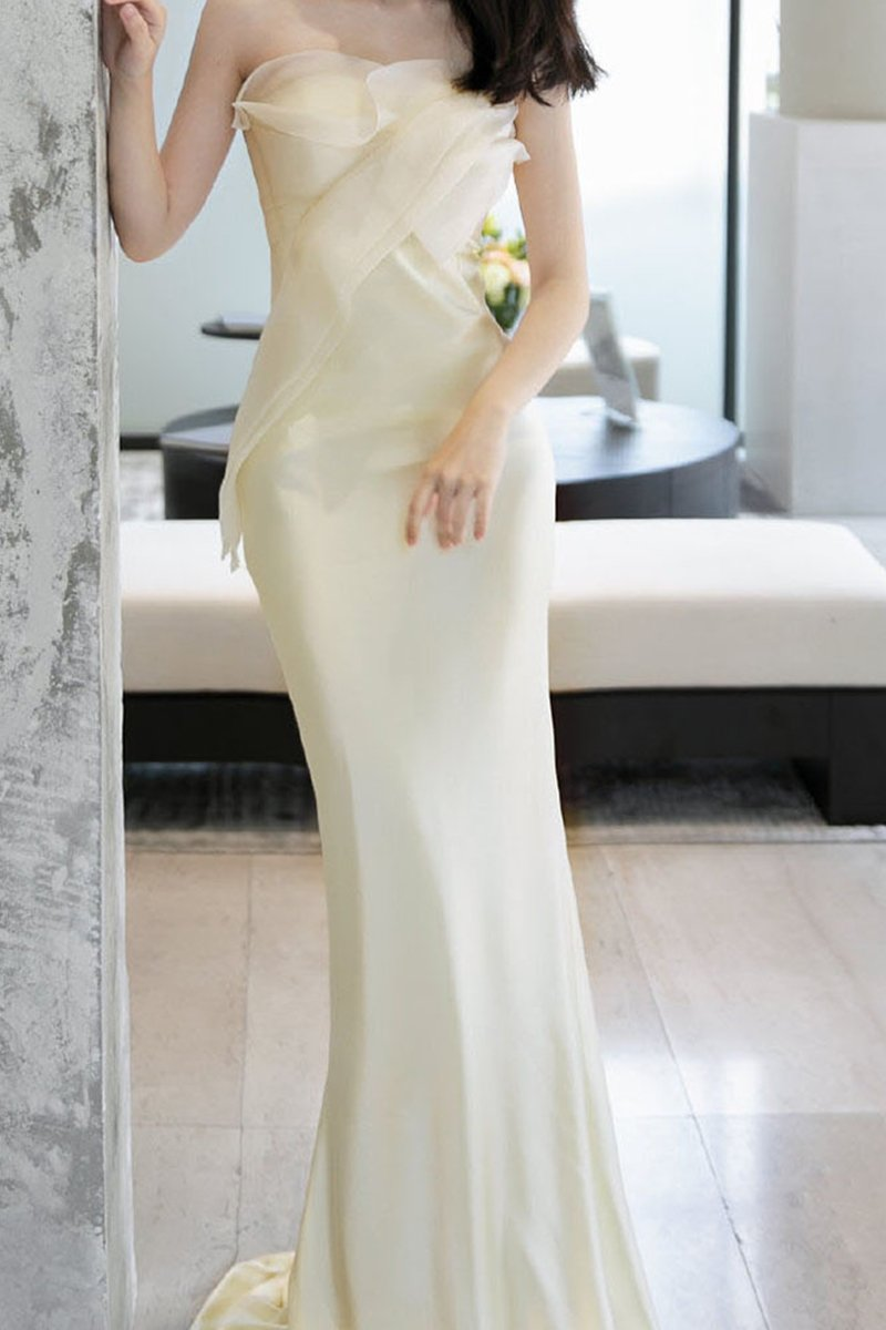 Satin Fishtail Toast Dress Tube Top Light Wedding Dress Brides