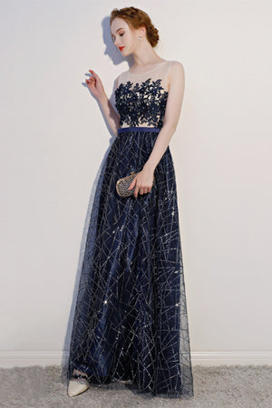 See-Through Lace Applique Sleeveless Evening Dress Evening Dresses