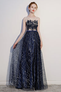 See-Through Lace Applique Sleeveless Evening Dress Evening Dresses US2 Navy Blue