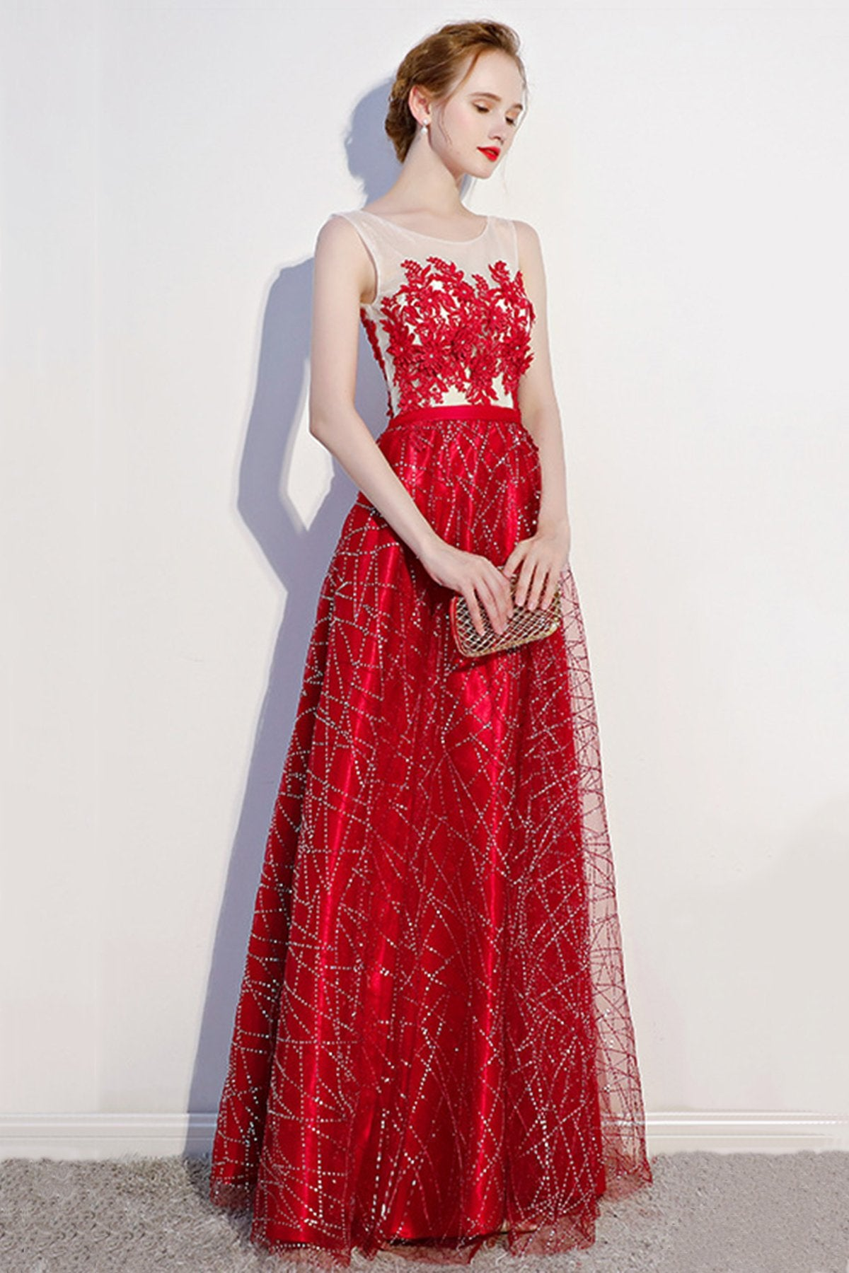 See-Through Lace Applique Sleeveless Evening Dress Evening Dresses US2 Red