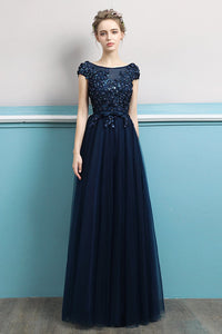 Sequins Design Banquet Evening Dress Evening Dresses US2 Navy Blue