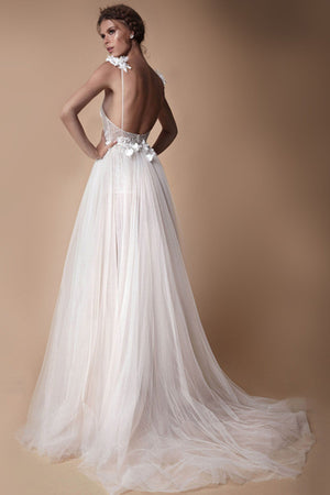 Sexy Deep V-Neck Backless High-Slit Wedding Dress For Wedding Trip Shot Wedding Dress