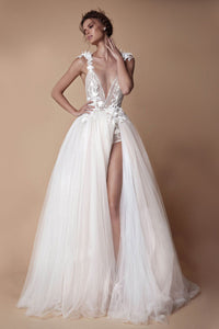 Sexy Deep V-Neck Backless High-Slit Wedding Dress For Wedding Trip Shot Wedding Dress S White