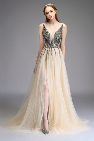 Sexy Deep V-Neck Evening Dress Customization Evening Dresses US4 Champagne