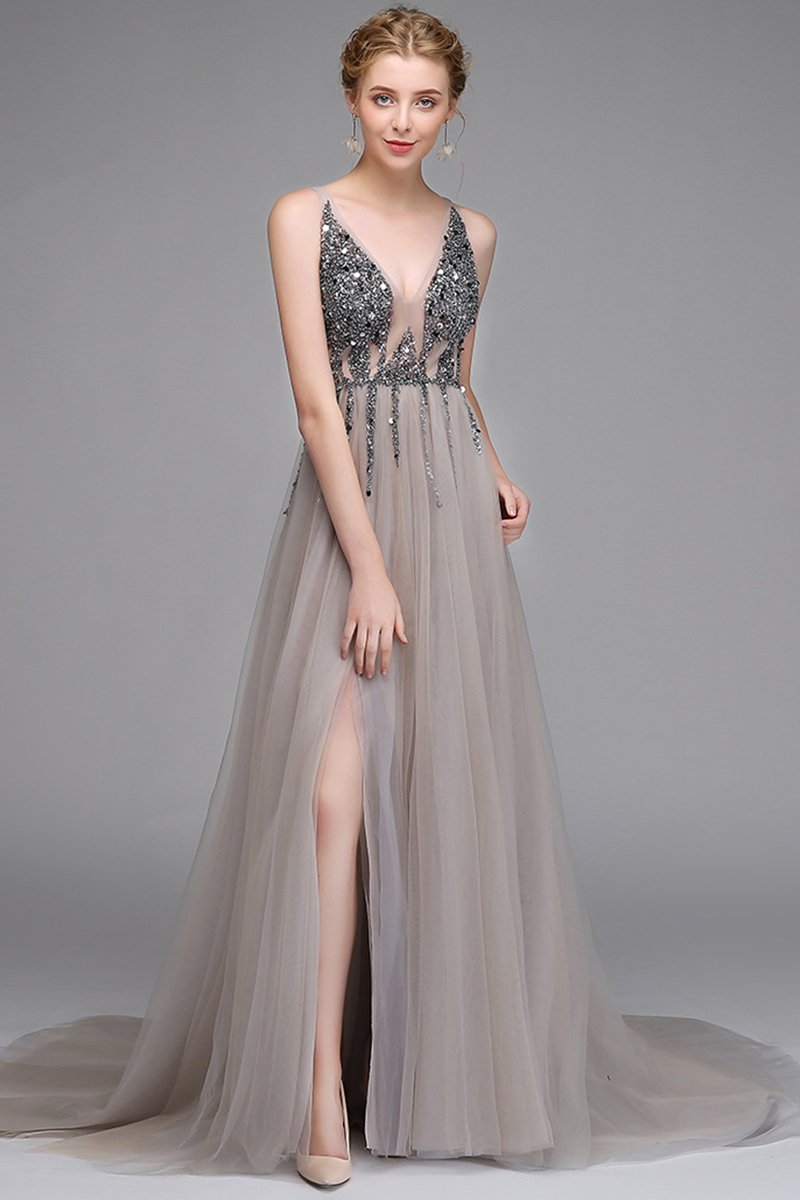 Sexy Deep V-Neck Evening Dress Customization Evening Dresses US4 Gray
