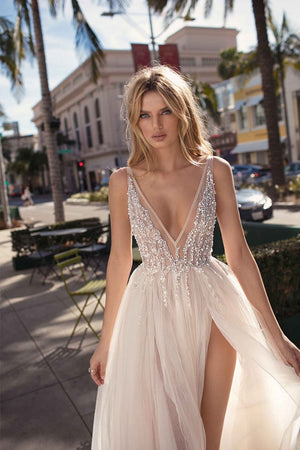 Sexy Deep V-neck Legless Shooting Wedding Dress Brides
