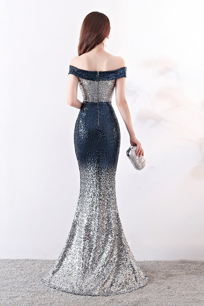 Sexy Sequin Gradient Stylish Sheath Banquet Evening Dress Gown Evening Dresses