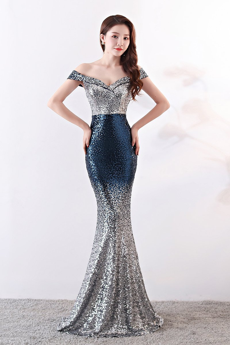 Sexy Sequin Gradient Stylish Sheath Banquet Evening Dress Gown Evening Dresses S Blue