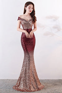 Sexy Sequin Gradient Stylish Sheath Banquet Evening Dress Gown Evening Dresses S Wine Red