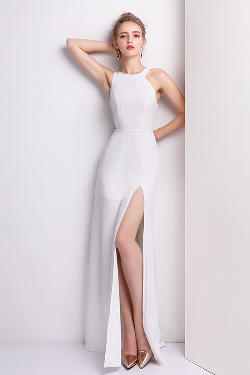 Sexy Slim White High Slit Party Summer Dress Brides S White