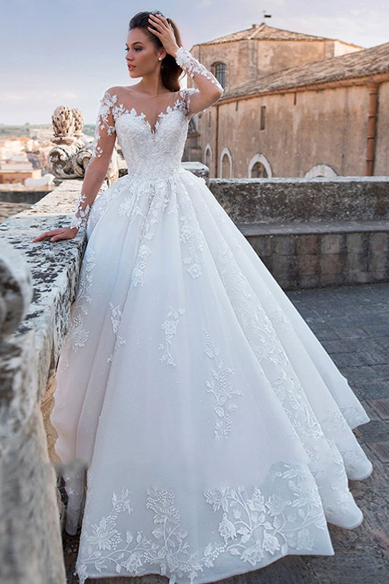 Sexy Tulle See-Through Cathedral Train Wedding Dress Wedding Dress 2 White