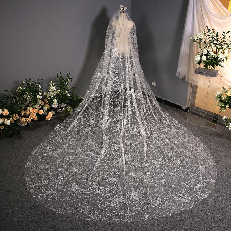 Shiny Tulle Long Tail Wedding Veil Bride Veil Bridal Veil 3.8m*3m White