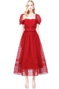 Short Sleeve Square Collar Red Bridal Dress Brides