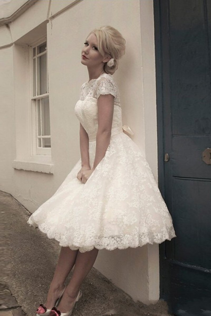 Short Sleeve Tulle Tea-Length Evening Dress Evening Dresses 2 White
