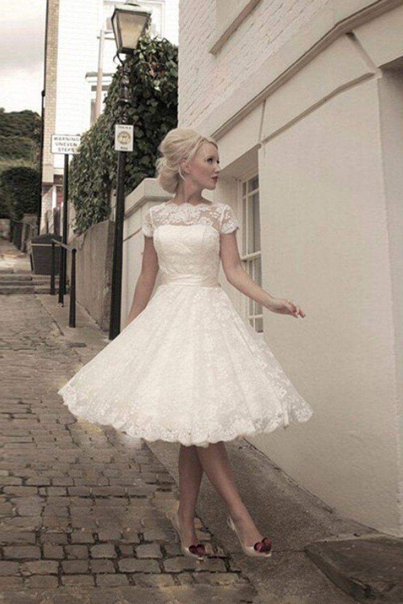 Short Sleeve Tulle Tea-Length Evening Dress Evening Dresses