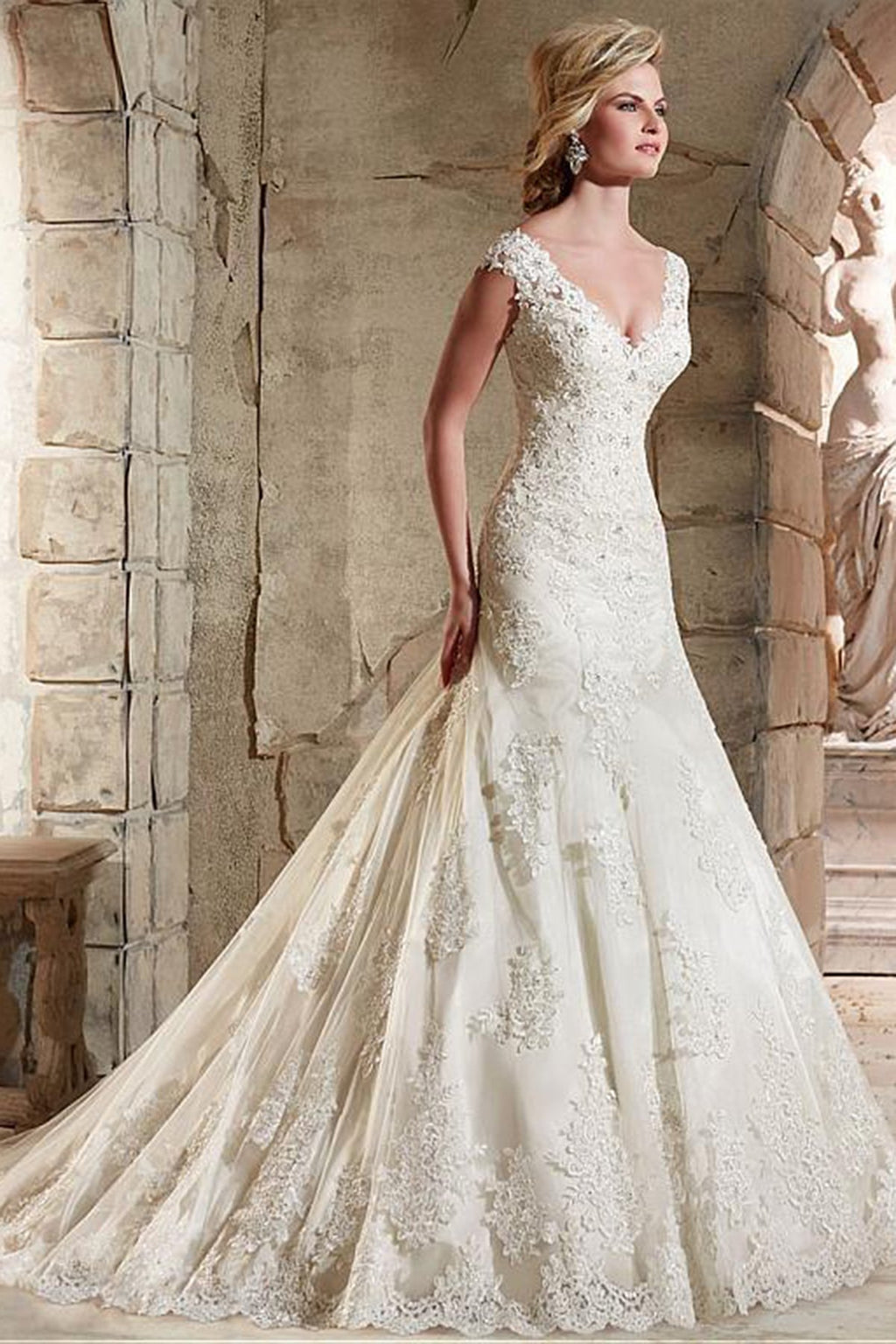 Shoulder Deep V Neck Fishtail Lace Backless Wedding Dress Wedding Dress
