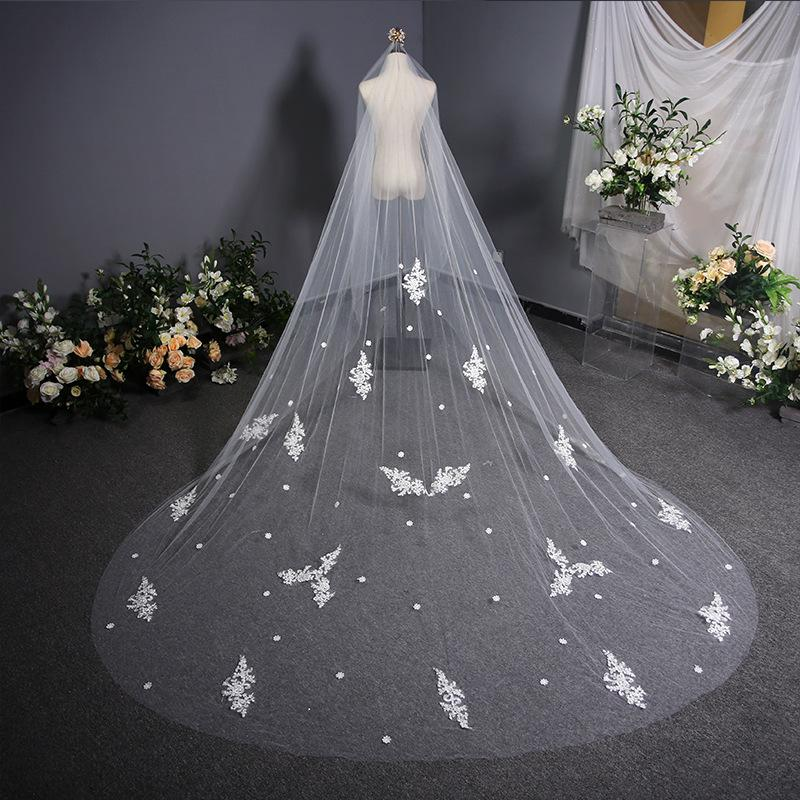 Simple Long Tailed Bridal Veil Wedding Headdress Bridal Veil 3.8m*3m White