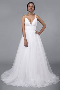 Simple Sexy Deep V-Neck Sweep Train Wedding Dress Wedding Dress 2 White