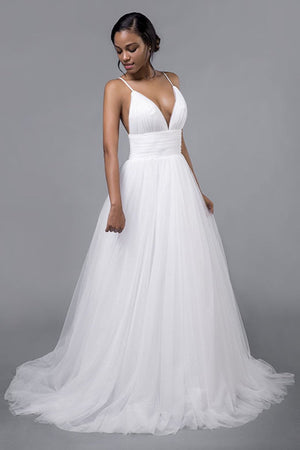 Simple Sexy Deep V-Neck Sweep Train Wedding Dress Wedding Dress