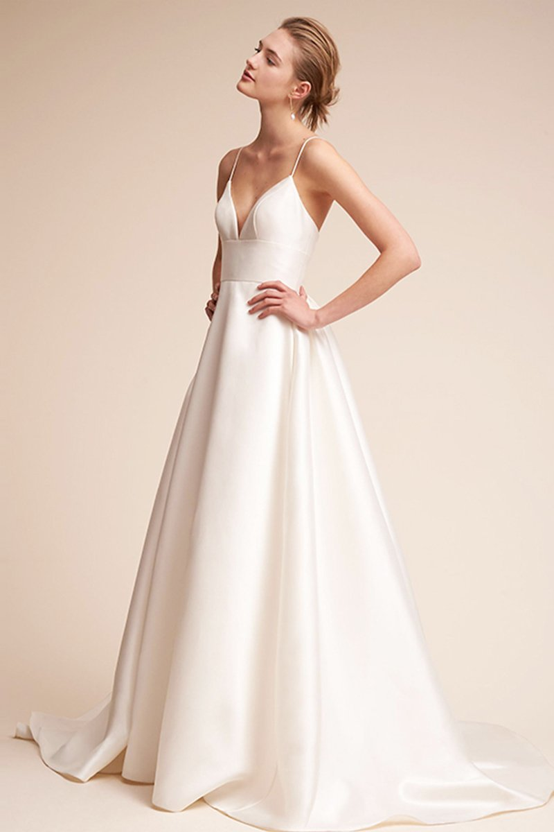 Simple Sling Satin Small Tail Bridal Wedding Dress Brides