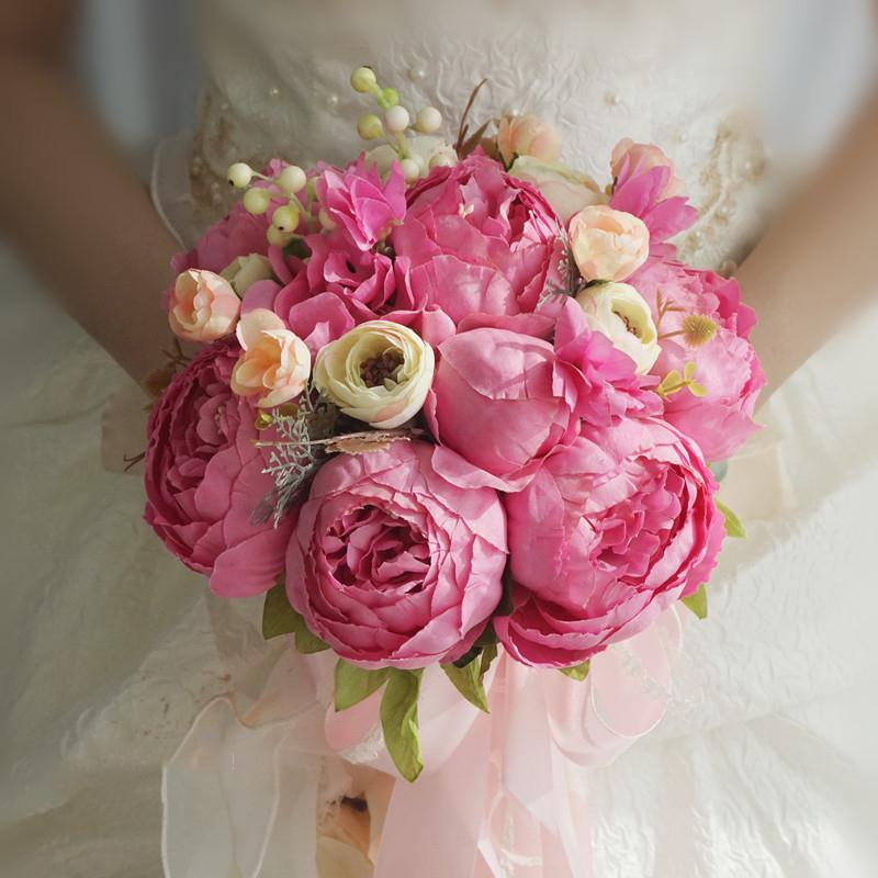 Simulation Bride Holding Flower Wedding Bouquet Wedding Bouquet Rose Pink