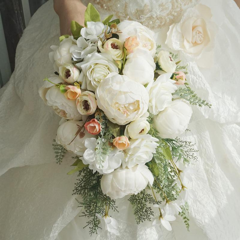 Simulation Bride Holding Flowers Roses Wedding Bouquet Wedding Bouquet White