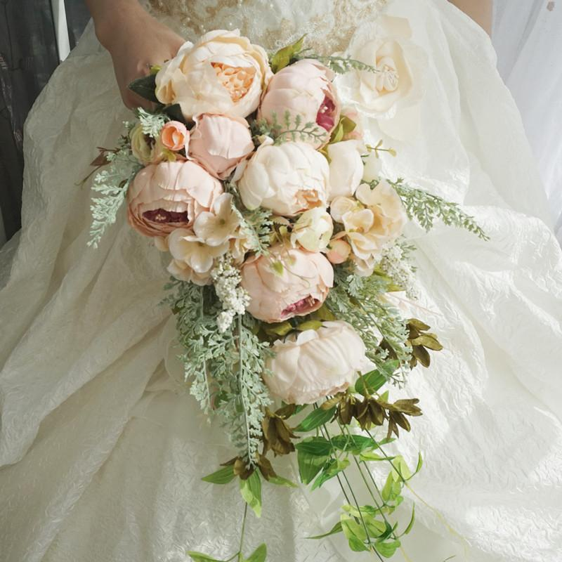 Simulation Wedding Bouquet Peony Roses White Wedding Bouquet