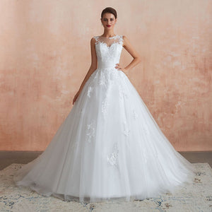 Sleeveless Sexy See-Through Buttons Back Wedding Dress Wedding Dress