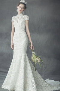 Slim Fishtail White Lace Wedding Dress Brides