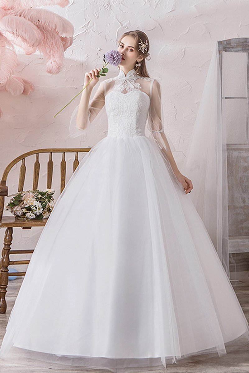 Solid Color Simple High Waist Wedding Dress With Sleeve Brides