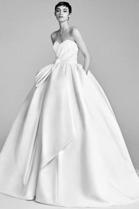 Strapless Slim Satin Elegant Wedding Dress Wedding Dress 2 white