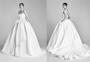 Strapless Slim Satin Elegant Wedding Dress Wedding Dress