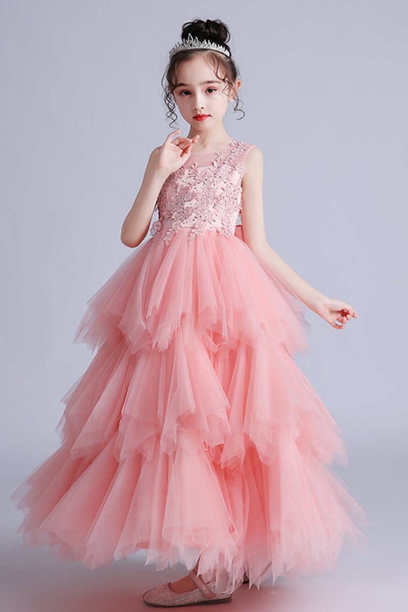 Summer New Flower Girl Puffy Lace Dress Bridesmaids & Flower Girls 120cm Pink