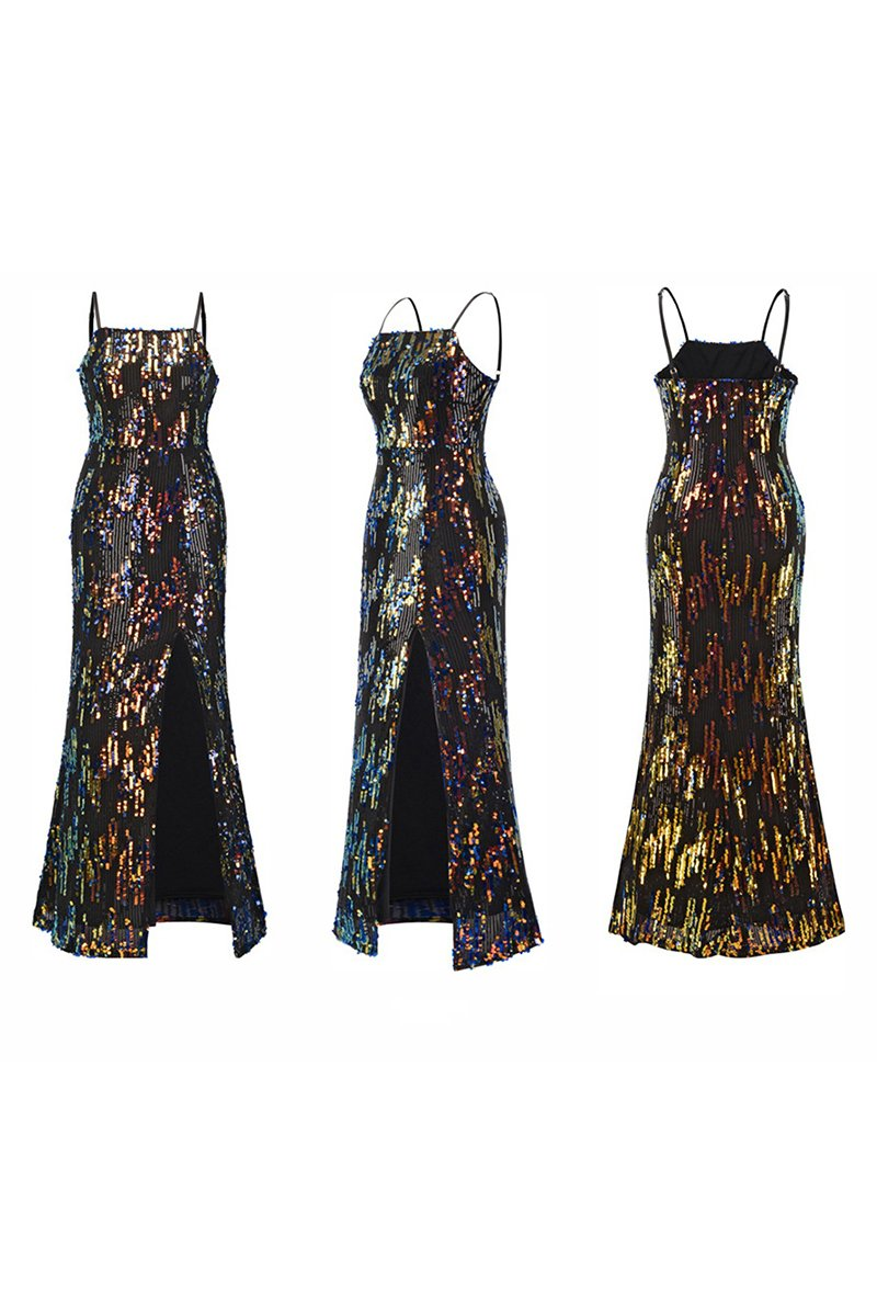 Summer New Suspenders Fashion Sequin Evening Dress Brides