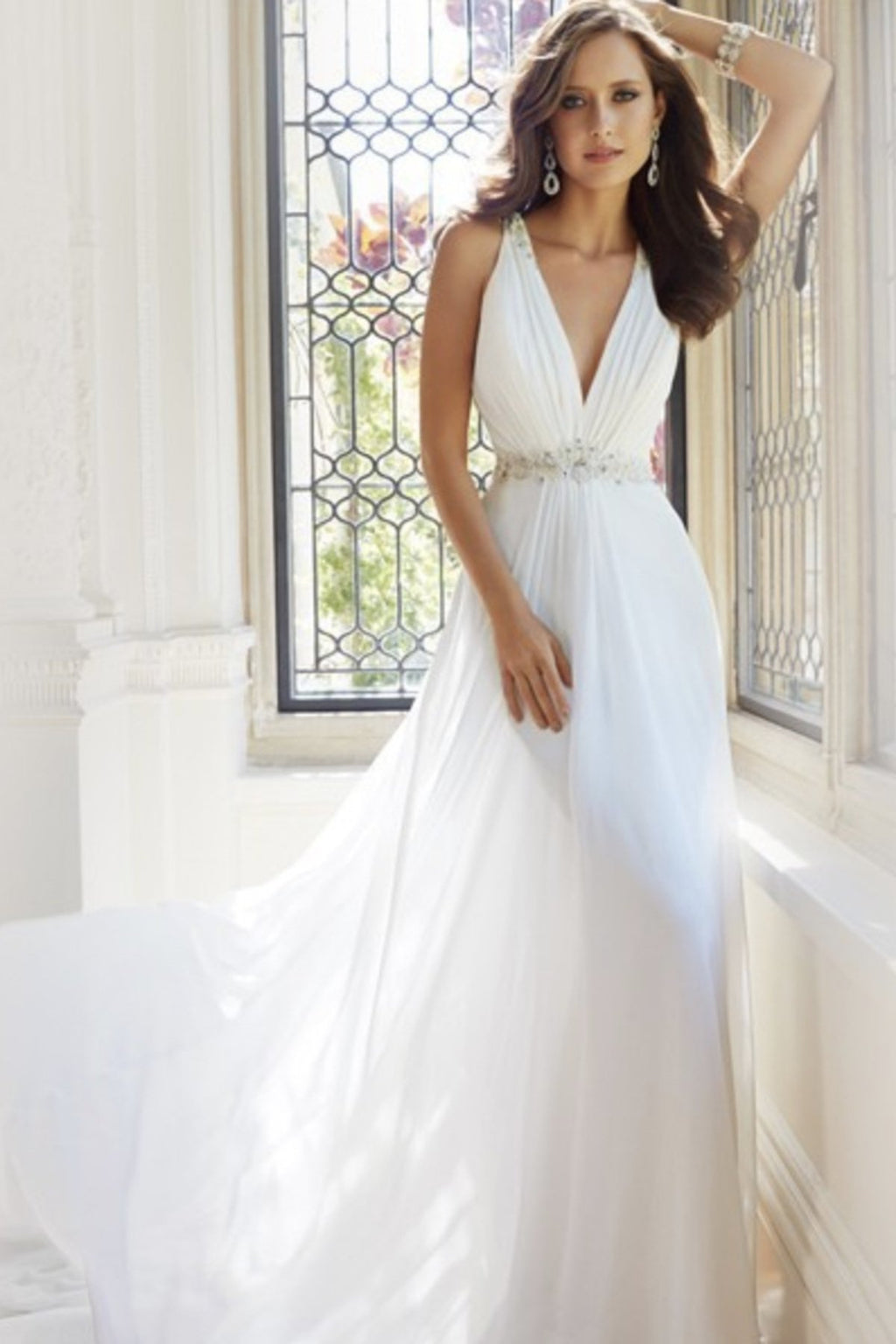 Sweep Train Deep V-Neck Back See-Through Wedding Dress Wedding Dress US2 White