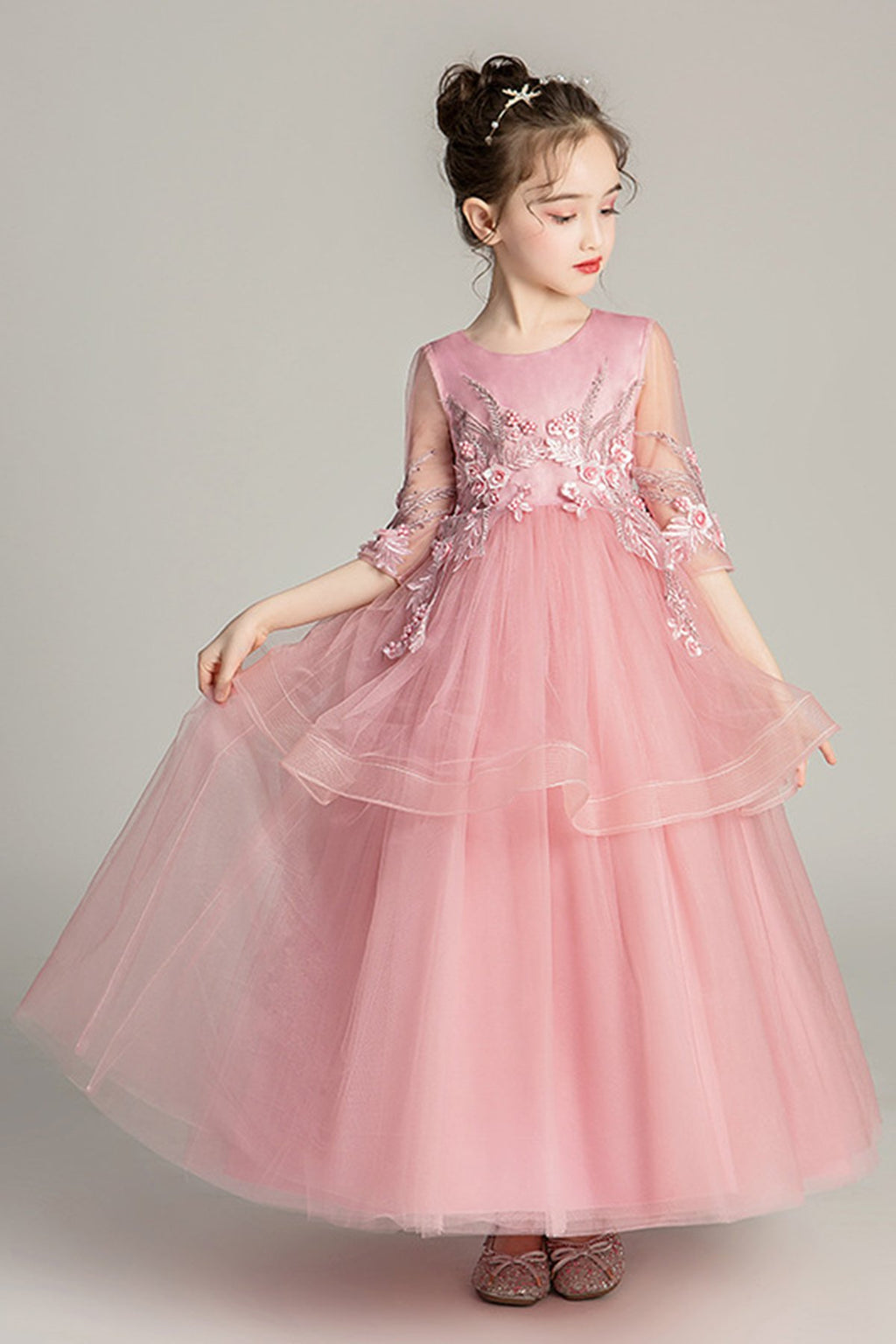 Sweet Princess Dress Flower Girl Dress Flower Girl Dresses 120cm Pink
