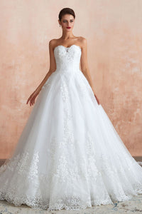 Sweetheart Tulle Sweep Train Wedding Dress Gown Wedding Dress US2 White