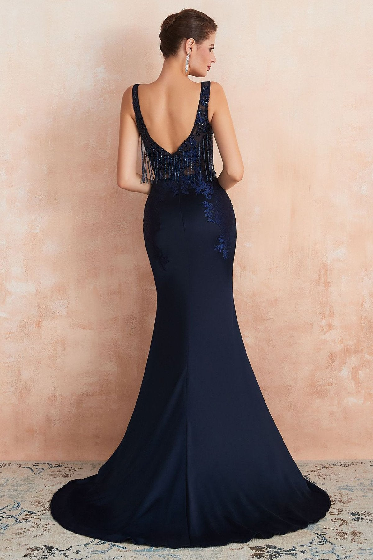 V-Back Sexy Fringe Navy Blue Evening Dress Evening Dresses