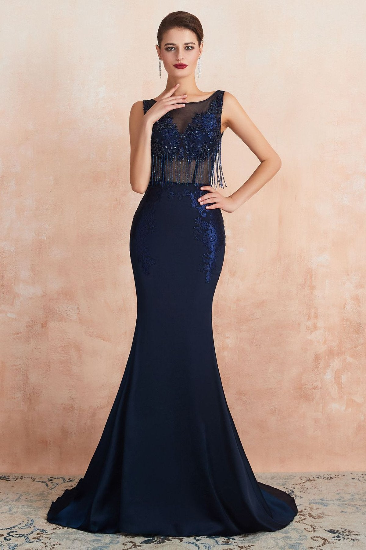 V-Back Sexy Fringe Navy Blue Evening Dress Evening Dresses US2 Navy Blue