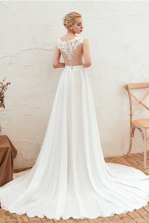 V-Neck High-Slit See-Through Wedding Dress Wedding Dress