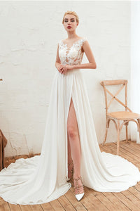 V-Neck High-Slit See-Through Wedding Dress Wedding Dress S White