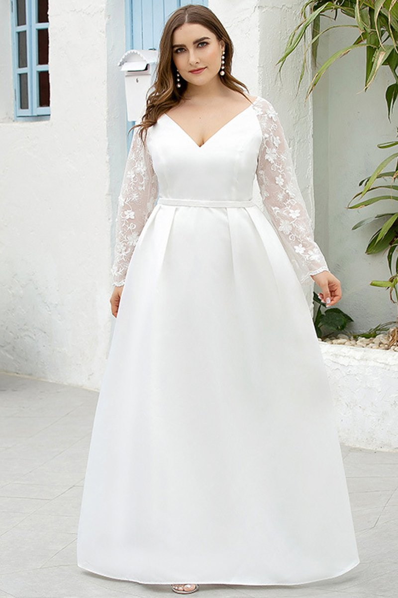 V-neck Long-Sleeved White Plus Size Wedding Dress Brides