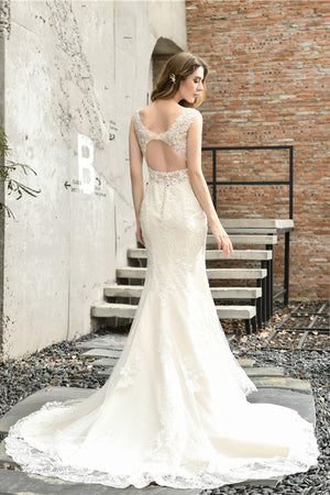 V-Neck Mermiad Back Cut Out Wedding Dress Wedding Dress