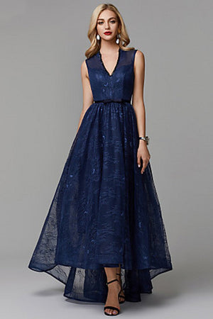 V-Neck Navy Blue High-Low Dress Mother of the Bride Dress Mother of the Bride Dresses
