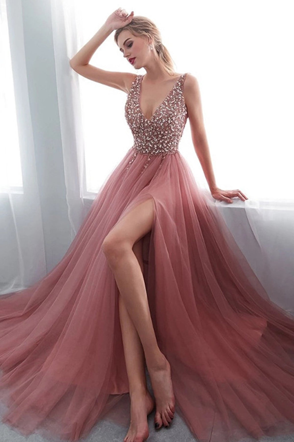 V-Neck Pink Crystal Split Evening Dress Evening Dresses