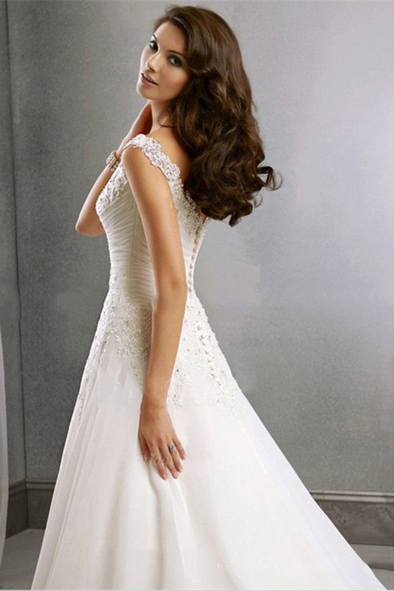 V-Neck Princess Tail Chiffon Tulle Wedding Dress Wedding Dress