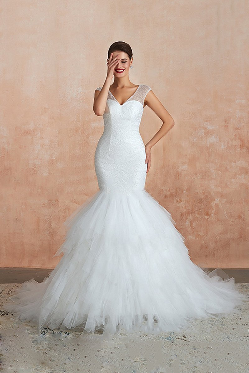 V-Neck Wedding Dress Fishtail Two-Color White / Ivory Wedding Dress Wedding Dress US2 ivory white