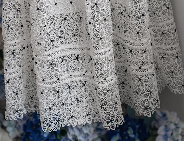 Water-Soluble Lace Slim-Fit Short-Sleeved White Dress Brides
