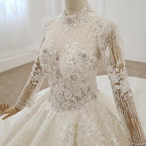 Wedding Sequin Crystal Tassel Luxury High Collar Wedding Dress Wedding Dress